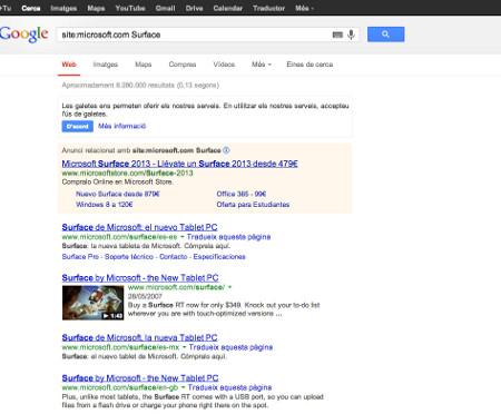 Buscar información en un sitio específico con Google