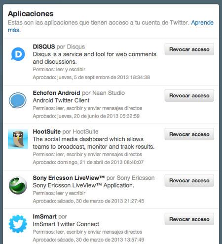 Gestionar las aplicaciones que acceden a Twitter