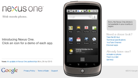 Google se replantea como vender el Nexus One