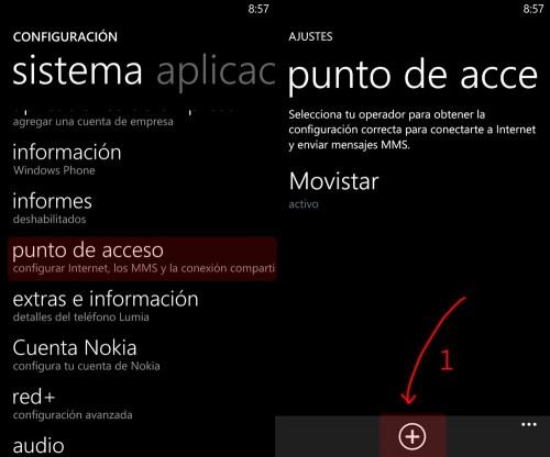 Configurar un punto de acceso APN con Windows Phone