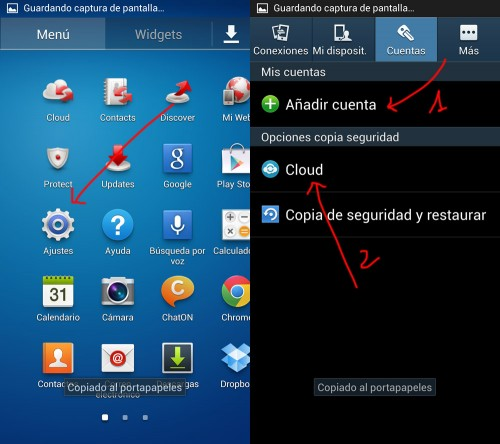 Copias de seguridad y sincronización de datos en Galaxy S4