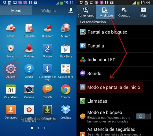 Cambiar interfaces en Samsung Galaxy S4