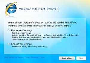 Listo para usar: Internet Explorer 8