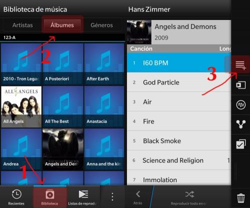 Crear y editar listas de música con BlackBerry 10