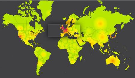 Mapa de la actividad de la Red proporcionado por Akamai, en el que se puede observar claramente l afectación en el noroeste europeo