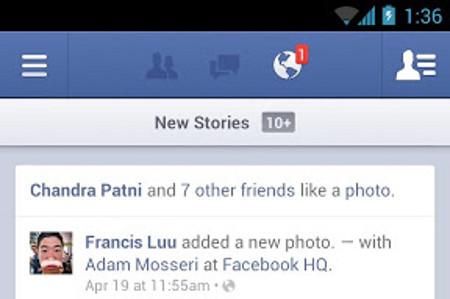 Visualmente, el nuevo cliente de Facebook para Android es idéntico al anterior