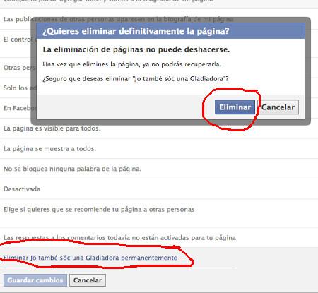 Eliminar una página de Facebook