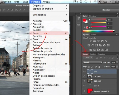 Manejar capas con Adobe Photoshop CS6 para MAC