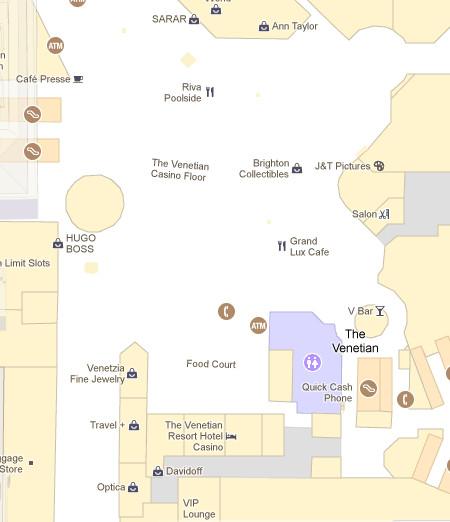 Sección interior del famoso casino Venetian de Las Vegas, con las separaciones de tiendas y los amplios espacios para peatones indicados