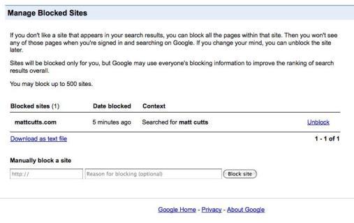 Control para bloquear páginas en las búsquedas de Google