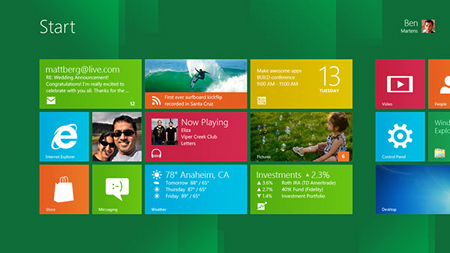 Home page de Windows 8