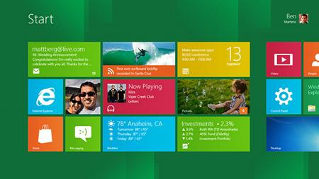 Home page de Windows 8