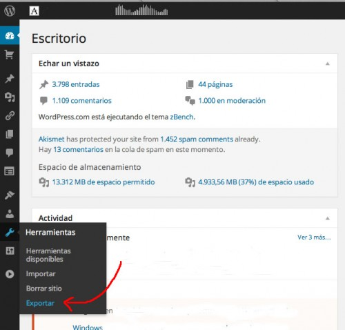 Migrar/Exportar un blog de WordPress a Blogger